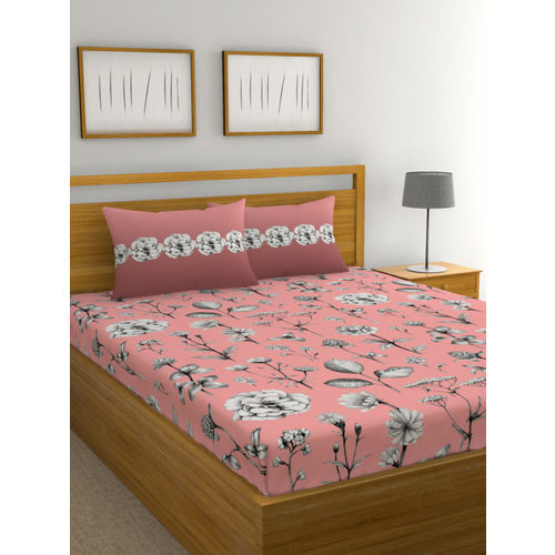 Trident Pink & Black Floral 144 TC Cotton 1 King Bedsheet with 2 Pillow Covers