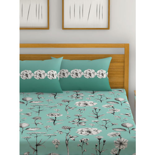 Trident Green Floral Print 144 TC Cotton 1 King Bedsheet with 2 Pillow Covers