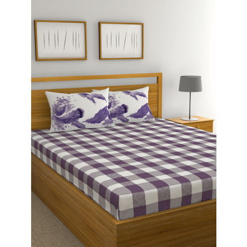 Trident White & Purple Geometric Print 144 TC Cotton 1 King Bedsheet with 2 Pillow Covers
