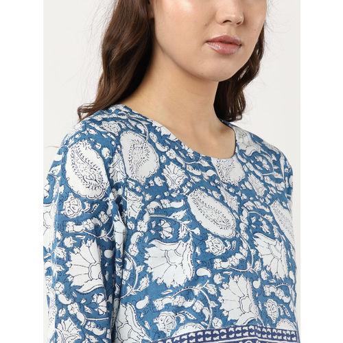 Sangria Women Blue & White Printed Empire A-Line Kurta