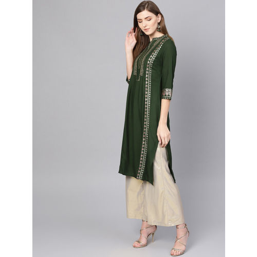 W Women Olive Green & Golden Printed Straight Kurta