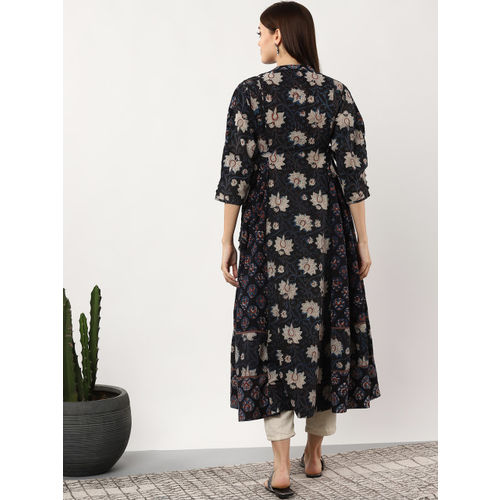 Sangria Women Black & Navy Blue Printed Anarkali Kurta