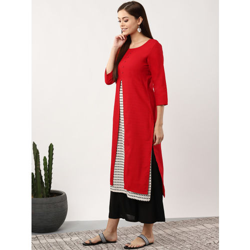 Sangria Women Red & Off-White Solid Layered Straight Kurta