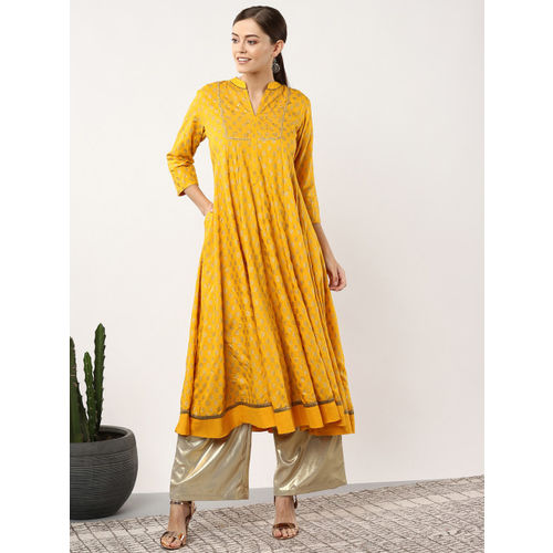 Sangria Women Mustard Yellow & Golden Printed Anarkali Kurta