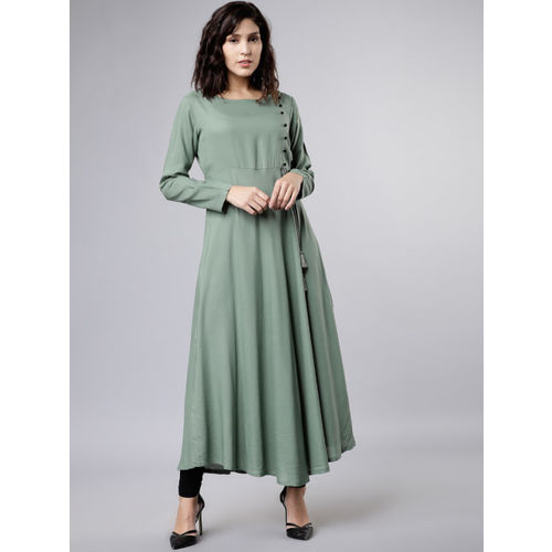 Vishudh Women Green Solid A-Line Angrakha Kurta
