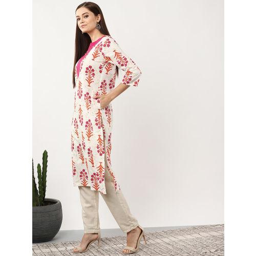 Sangria Women Off-White & Pink Printed Straight Kurta