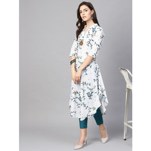 SOJANYA Women White & Teal Green Printed A-Line Kurta