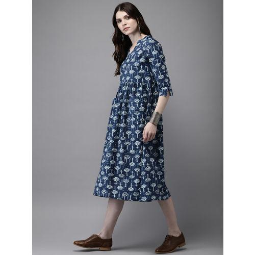 Anouk Women Blue & White Printed A-Line Fusion Kurta