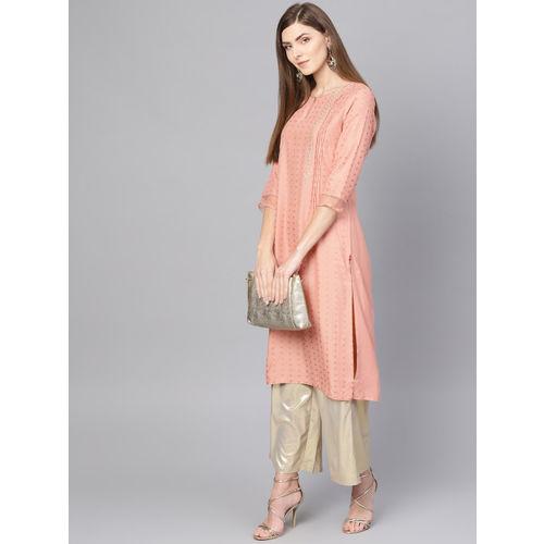 W Women Pink & Golden Printed Straight Kurta