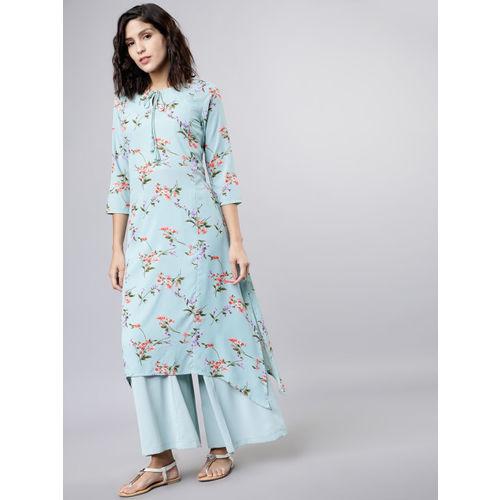 Vishudh Women Blue & Pink Printed Kurta with Palazzos