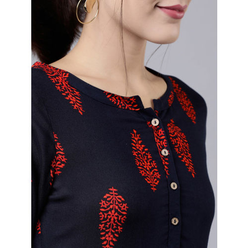 Vishudh Women Navy Blue & Red Printed A-Line Kurta