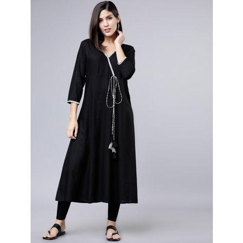 Vishudh Women Black Solid A-Line Kurta