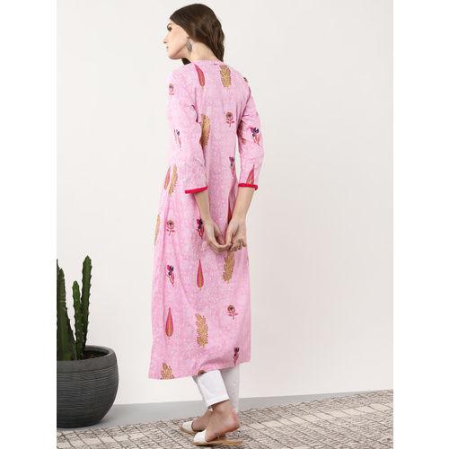 Sangria Women Pink & White Printed Straight Kurta