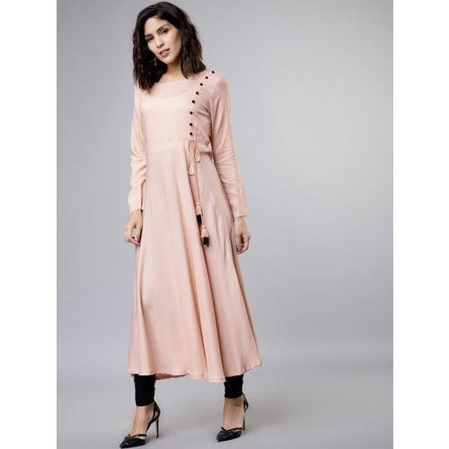 Vishudh Women Pink Solid A-Line Kurta