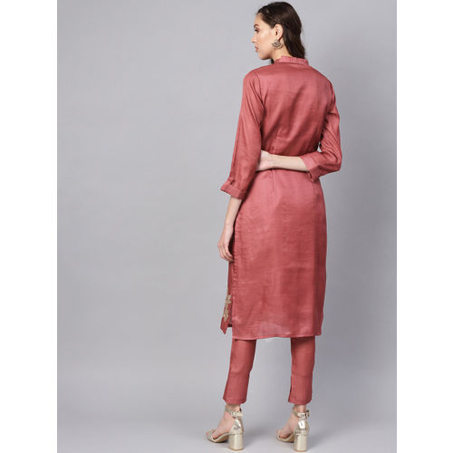 Inddus Women Rust Red & Golden Embroidered Kurta with Trousers