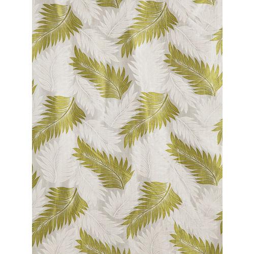 Cortina Green & Off-White Set of 2 Printed Room Darkening Long Door Curtains