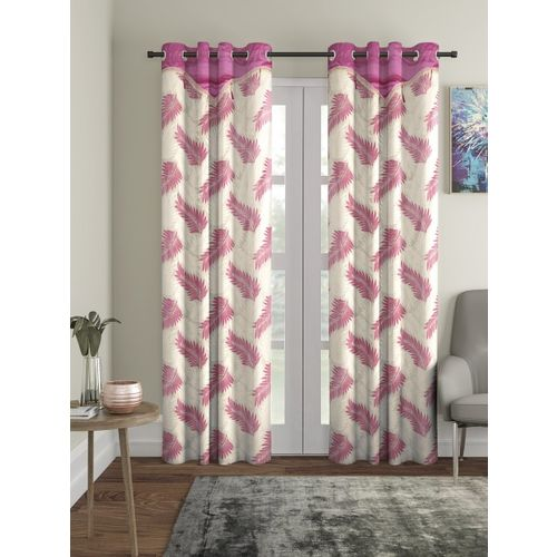 Cortina White & Pink Set of 2 Door Curtains