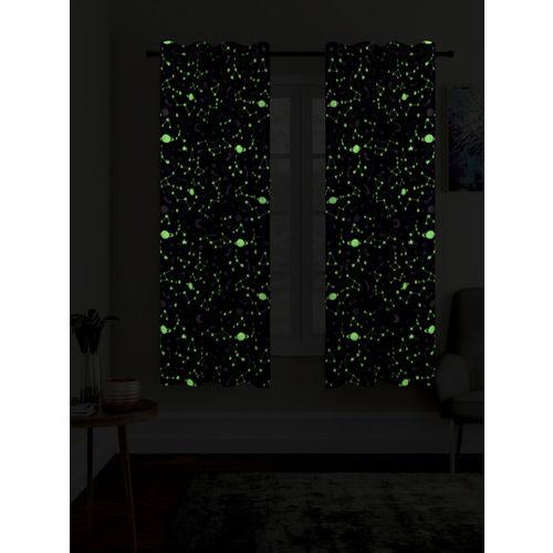 Cortina Grey Set of 2 Glow in The Dark Window Curtains