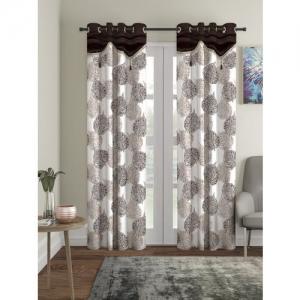 Cortina White & Brown Set of 2 Printed Room Darkening Long Door Curtains
