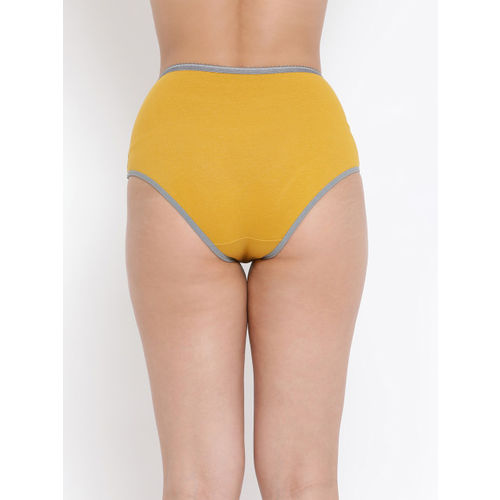 Clovia Women Yellow & Grey Colorblocked Hipster Brief PN3276P02XL