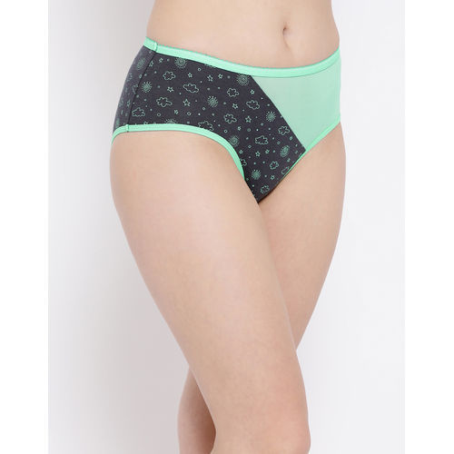 Clovia Cotton Mid Waist Printed Hipster Panty With Mesh Insert - Multi-Color