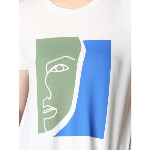 Vero Moda Women White Printed Round Neck T-shirt