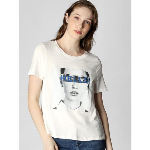 Vero Moda Women White Printed Round Neck T-shirt