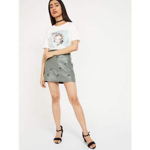 Ginger by Lifestyle Women Off-White Printed Round Neck T-shirt