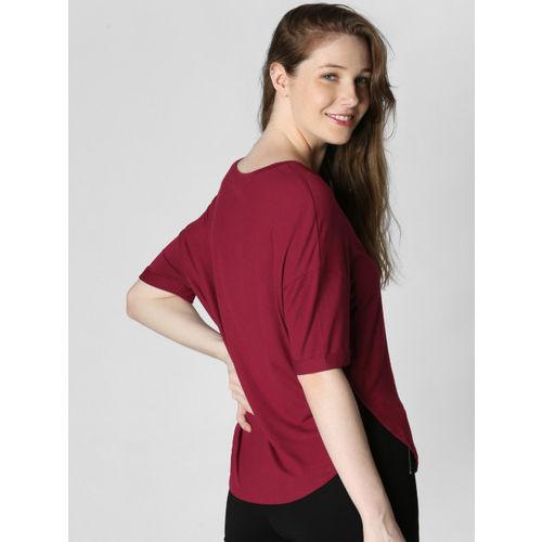 Vero Moda Women Maroon Printed Round Neck T-shirt