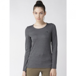 The North Face Women Charcoal Grey Solid Presta Crew T-shirt