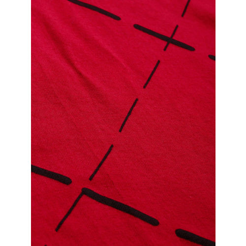 HERE&NOW Women Red & Black Checked Round Neck Cropped T-shirt