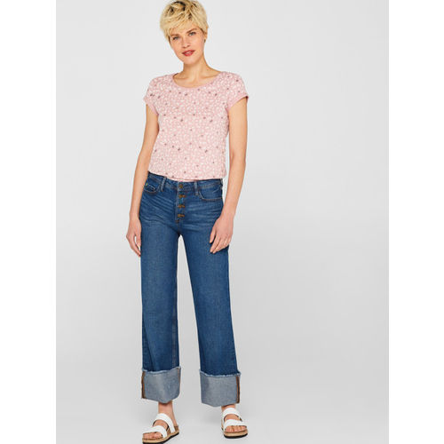ESPRIT Women Dusty Pink Printed Round Neck T-shirt