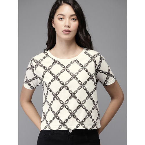 HERE&NOW Women White & Grey Printed Round Neck T-shirt