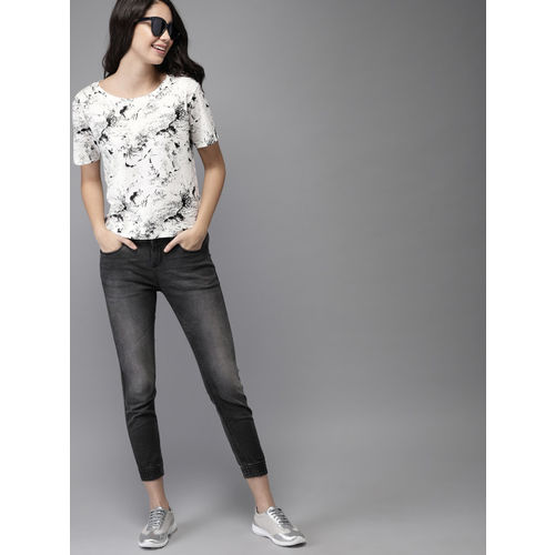 HERE&NOW Women White & Black Printed Round Neck T-shirt