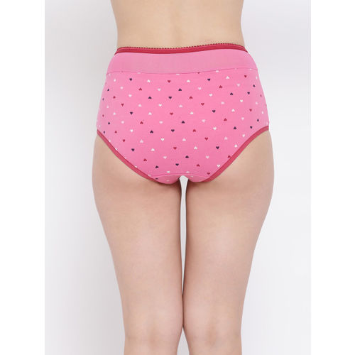 Clovia Women Pink High Waist Self Design Hipster Briefs PN3293P22