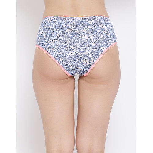 Clovia Cotton Mid Waist Printed Hipster Panty With Lace Panels - Multi-Color