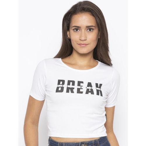 Disrupt Women White Printed Round Neck T-shirt