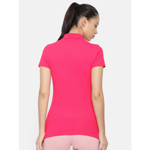 Puma Women Pink Solid ESS Polo Collar T-shirt