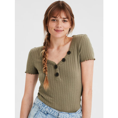 AMERICAN EAGLE OUTFITTERS Women Olive Green Solid V-Neck Knitted T-shirt
