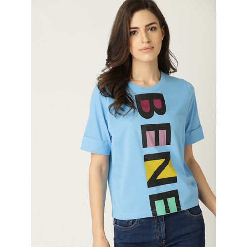 United Colors of Benetton Women Blue Printed Round Neck T-shirt