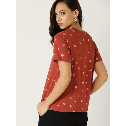 MANGO Women Rust Orange Printed Round Neck T-shirt