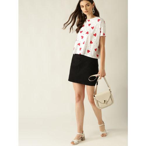 MANGO Women White & Red Printed Round Neck T-shirt