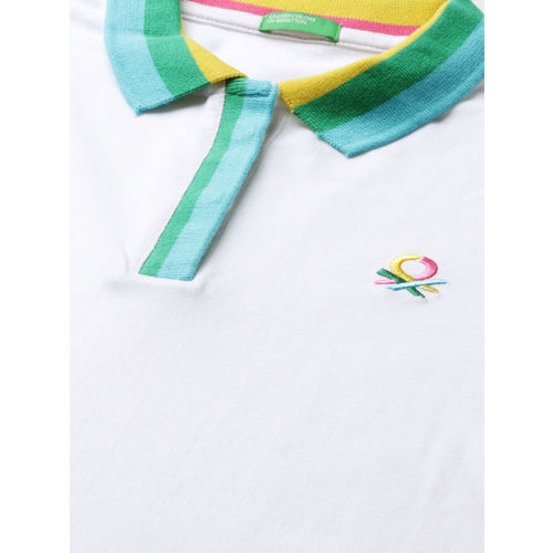 United Colors of Benetton Women White Solid Polo Collar T-shirt