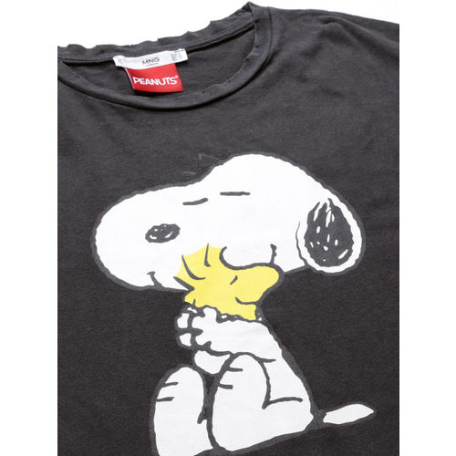 MANGO Women Black Peanuts Print Round Neck T-shirt