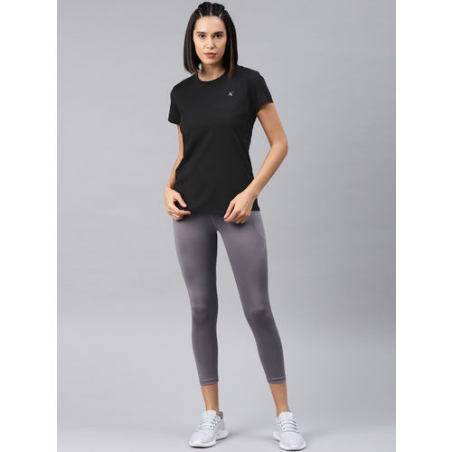 HRX by Hrithik Roshan Women Black Solid Round Neck Rapid Dry Running T-shirt