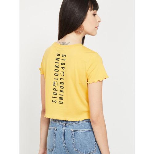 Smiley World Women Yellow Printed Round Neck T-shirt