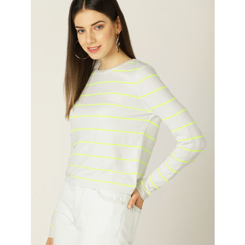 MANGO Women White & Lime Green Striped Round Neck T-shirt