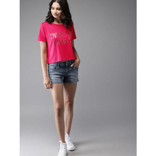 Moda Rapido Women Pink Printed Round Neck T-shirt