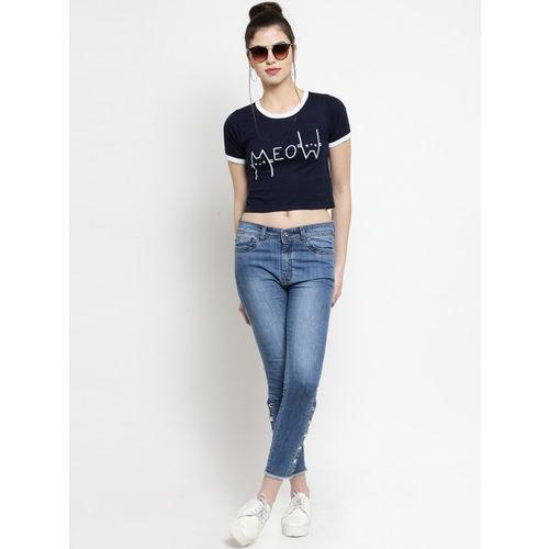 Everlush Women Navy Blue Printed Round Neck Crop T-shirt