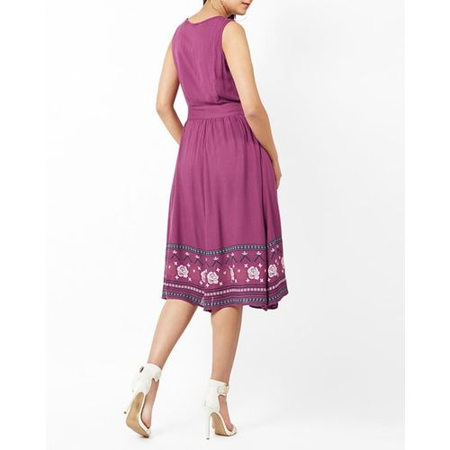 Oxolloxo Fit & Flare Dress with Printed Hem